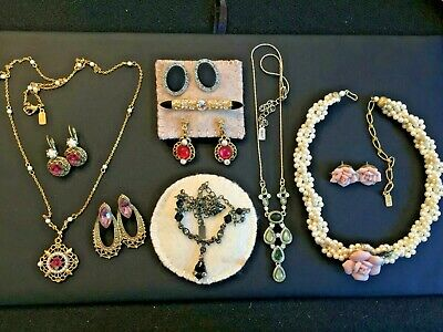 All SIGNED 1928 HUGE Vtg Lot of 10 Items Featuring Rose Designs Rhinestones +++