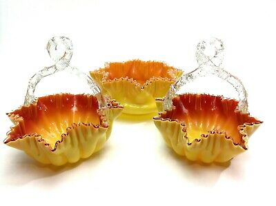 Sensational Victorian Glass Ruffle Edge Thorn Handle Baskets & Bowl Set