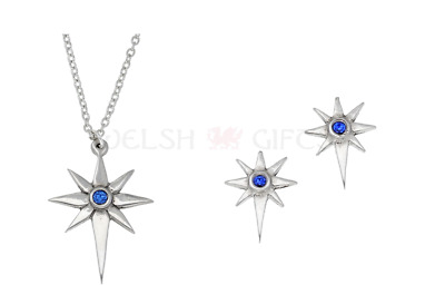 Star Pendant Necklace Earrings with Blue Crystal - St Justin Pewter