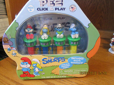 Pez Candy Smurfs Click and Play Pez Dispensers and Candy Rolls Gift Set New
