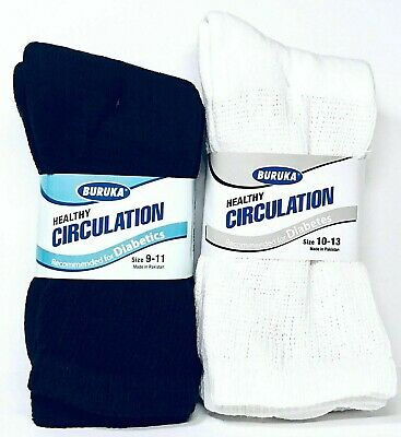3 or 6 Pairs Diabetic Crew Circulatory Socks Health Support Mens Loose Fit