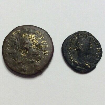 Ancient Roman Fourree Gold Coin Lot Of 2 Bronze Contemporary Imitation Lot Of 2