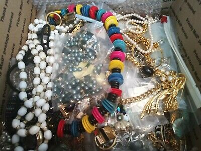 Vintage Estate Costume Jewelry Lot Necklace 1930s up signed Earrings Brooch