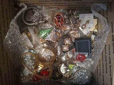 Vintage Costume Jewelry Lot Necklace 1930s up signed Earrings Brooch estate