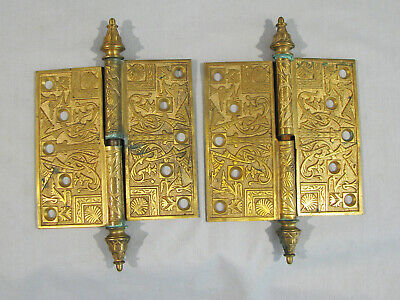 """#2 Pair Of Antique Solid Brass Ornate Victorian Hinges - 5"""" X 5"""""""
