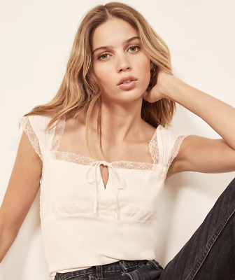 NWT $128 Reformation Ophelia Small Ivory White top Cami lace