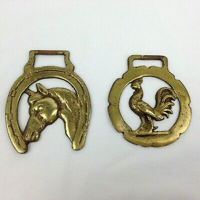 2 Vintage Brass Horse Bridle Saddle Harness Ornament Medallion Rooster Horseshoe