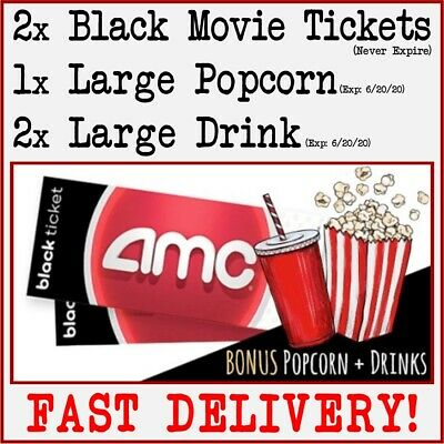 2 AMC THEATRE BLACK MOVIE TICKETS 2 LARGE DRINKS & 1 LARGE POPCORN Theater FAST!