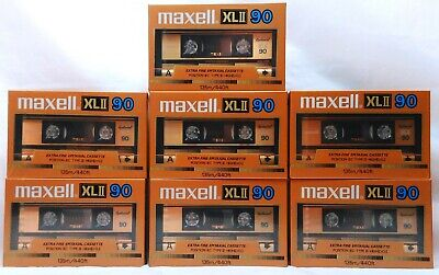 Lot of 7 Sealed Blank Maxell XLII 90 Extra Fine Epitaxial Cassette Tapes