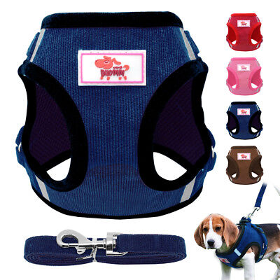 Soft Mesh Small Dog Harness Step-in Puppy Harness Leash Set Pet Jacket Vest UN