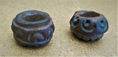 2 Ancient Pre-Columbian Carved Clay Beads Stone Age Meso-American RARE!