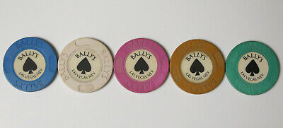 Lot of 5 Different RARE Las Vegas Nevada BALLY's CASINO  Roulette Casino Chips