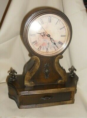 Wooden Wood Battery Operated Mantel Clock with Drawer