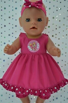 """Play n Wear Dolls Clothes To Fit 17"""" Baby Born  HOT PINK DRESS~BLOOMERS~HEADBAND"""