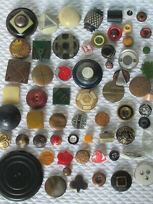 *HUGE LOT*  63 Art Deco Flapper Sewing Buttons-Celluloid-Bakelite-Metal-Glass