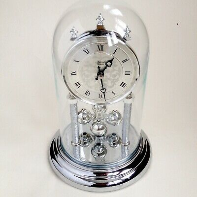 Hermle Anniversary Glass Dome Mantle Clock Working 80s Vintage Retro