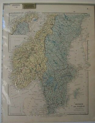 Sealed Stanford's Color Engraving Cartography Map Of Sweden & Norway 1880