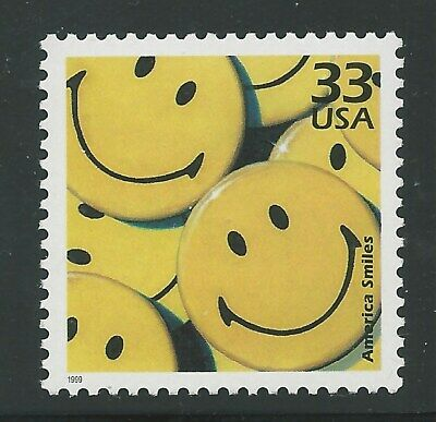 1970s Yellow Smiley Face America Smiles Happiness Symbol Button Stamp MINT 3189m