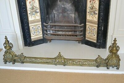 Brass Decorative French Style Vintage Fireplace Fender & Adjustable Andiron Ends