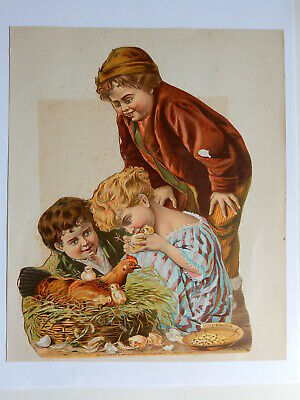 Victorian Easter Chicks Trade Card Ad Die Cut Scrap