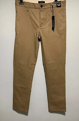 River Island Mens Light Brown Chino Trousers New With Tags 28/32 Slim Fit