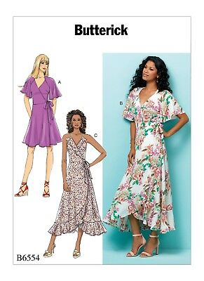 Butterick Sewing Pattern B6554 6554 Misses 6-14 Easy Wrap Dresses in 3 Lengths