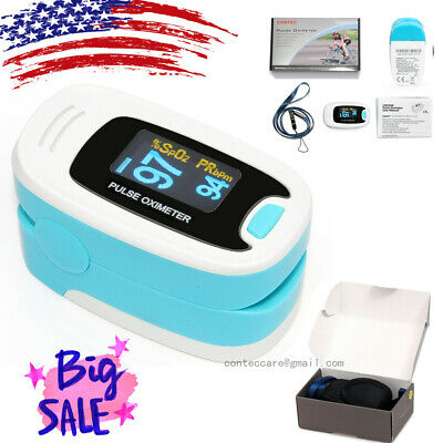 USA Fingertip Pulse Oximeter Blood Oxygen Saturation Monitor,CMS50N,OLED,blue