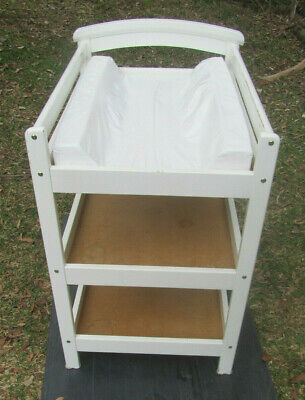 White Timber Wooden 3 Tier Arched Baby Change Table + Babyrest Change Mat Pad