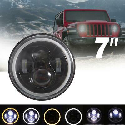 "DOT 7""Inch Round LED Headlight Halo Angle Eye Hi/Lo Beam for Jeep Wrangler JK TJ"