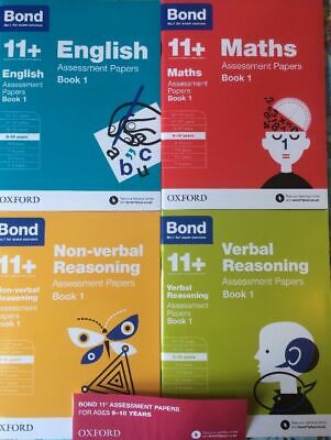 Bond11+ Plus 9-10 years Assessment Papers 4 books English,Maths,Verb &Non Verbal