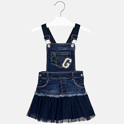 gonna salopette vestito vestitino jeans denim tulle blu bambina bimba mayoral