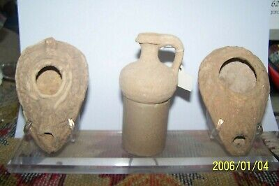 lot of 2 byzantine oil lamps and lamp filler L1229/28 L539 p2482