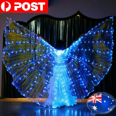 LED Isis Wings Belly Dance Cosplay Glow Show Light Up Costume Include Sticks Bag