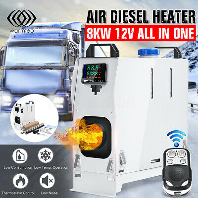 NEWEST 8KW 12V Diesel Air Heater LCD Remote Silencer Thermostat Trucks Boats UK