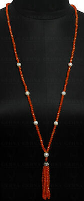 """42"""" Inches Pearl & Carnelian Gemstone Faceted Bead Necklace NM1114"""
