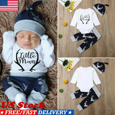 Newborn Baby Boy Clothes Little Man Romper Tops+Deer Pants+Hat Xmas Outfits US