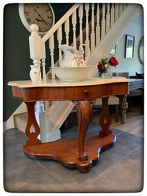 Antique Victorian Mahogany Marble Top Washstand