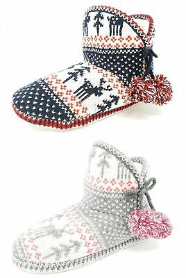 Ladies Teens Girls Knitted Bootie Slippers With Pompoms Size Womens 3-8