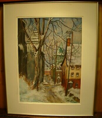 """Old Montreal Chalk And Pastel Painting by Bette Campbell Noted CDN Artist 25.5"""""""