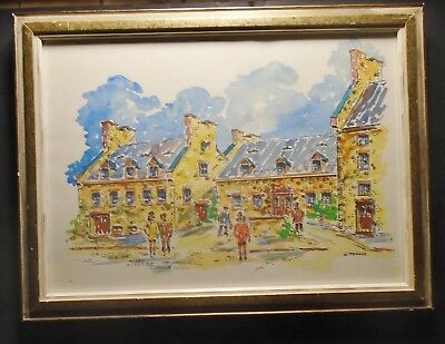 Walter Pranke Canadian Celebrated  Artist  Pen & Water Colors Old Montreal