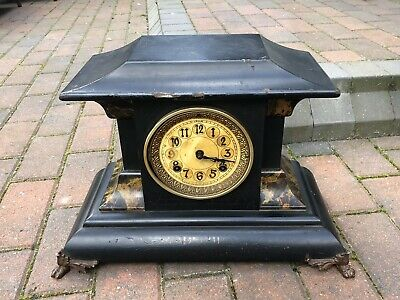 Antique Mantel Clock - New Haven Trade Mark Usa - Wood Cased Looks Like Slate