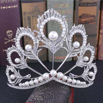 Handmade Bridal Pearl Crystal Tiara Large Hair Crown Pageant Party Headband PB