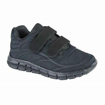 Childrens Kids Boys Girls Black Sports Running Trainers PE Gym Shoes Sneakers