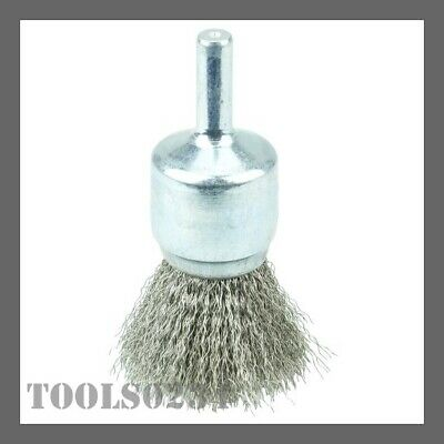 """Weiler 10017 3/4"""" Crimped Wire Cup Brush - .006"""" - Stnls Steel Fill - 3/4"""" Stem"""