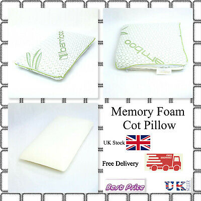 Bamboo Memory Foam Cot Pillow Super Soft- Kids, Junior Toddler Pillow 25x40CM