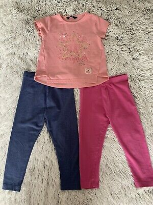 Girls Age 2/3 Years 2 Pairs Leggings & 1 Pink Sparkly T Shirt