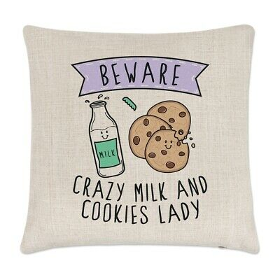 Funny Food Pepperoni Beware Crazy Pizza Lady Linen Cushion Cover Pillow