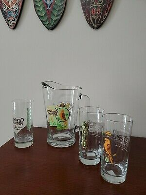 Disneyland Enchanted Tiki Room 45th Anniversary Glass Pitcher and Three Glasses