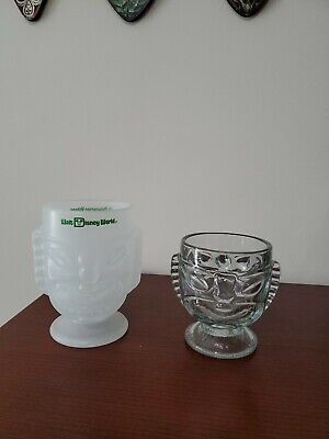 "Walt Disney World Polynesian Village Tiki Mug 6"" Frosted Glass Goblet Vintage"