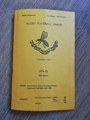 Wasps v London Welsh Apr 1975 Rugby Programme